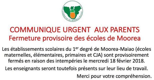 Ecoles du 1er degré fermées à Moorea Maiao