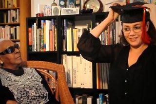 Maryse Condé et Nathalie Coualy dans la vidéo de présentation du projet Désiderada