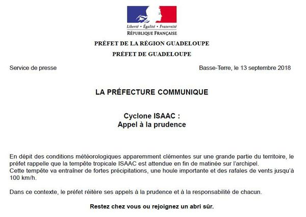 Communiqué de la préfecture de la Guadeloupe