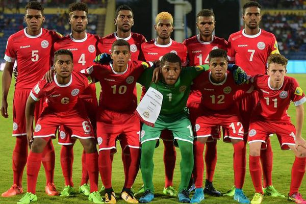 La sélection calédonienne des U17 face à la France.