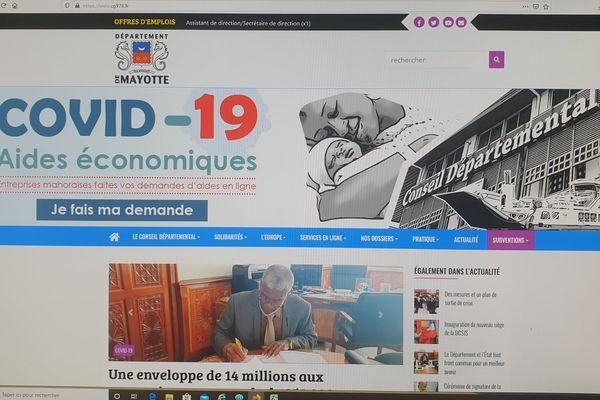 Capture d'écran site conseil départemental sur les mesures proposées aux entreprises