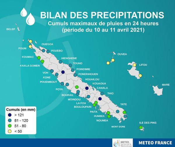 Dépression faible des 10 et 11 avril 2021, bilan pluies