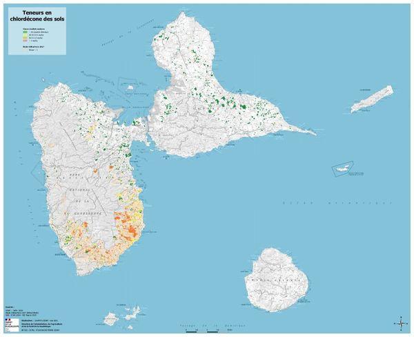 La cartographie des teneurs en chlordécone des sols