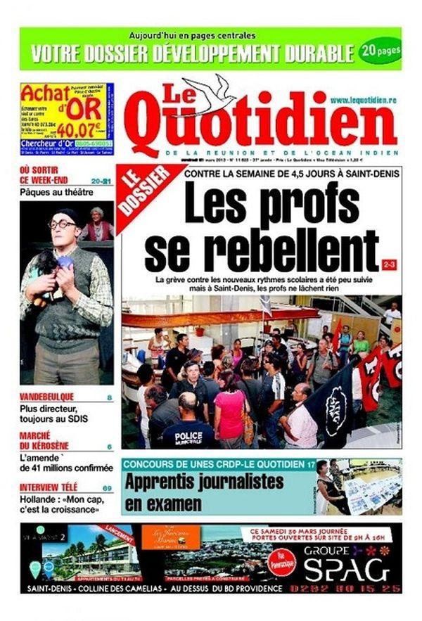 Le Quotidien de la Réunion du 29 mars 2013