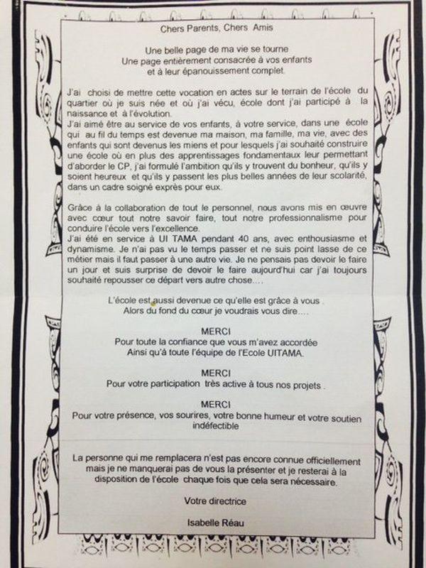 lettre Isabelle Réau