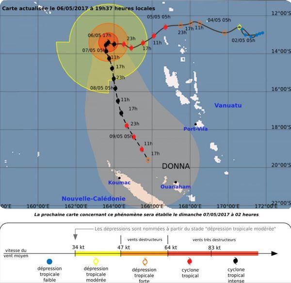 Trajectoire OK cyclone Donna samedi 6 mai 19h37