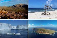 De gauche à droite et de haut en bas : vue des îles de Kerguelen, Tromelin, de la Terre Adélie et de Saint-Paul