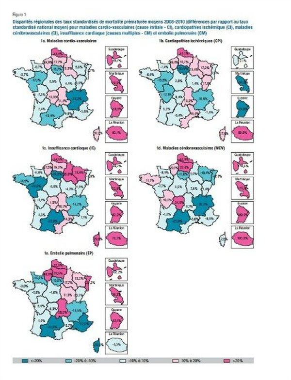 Disparités régionales destaux standardisés demortalité prématurée moyens 2008-2010