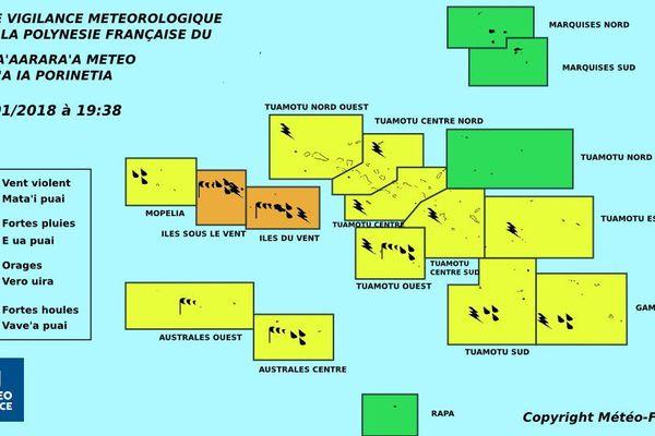 Les orages gagnent la Société et la majeure partie des Tuamotu