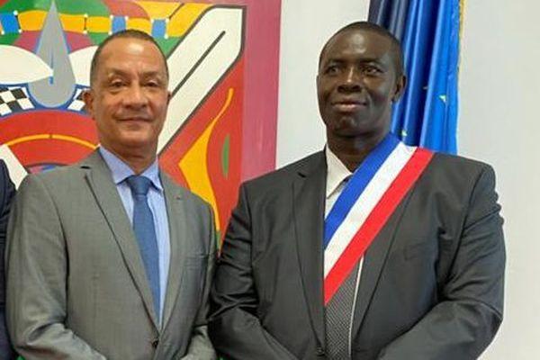 Paul Dolienki maire d'Apatou et Rodolphe Alexandre président de la CTG