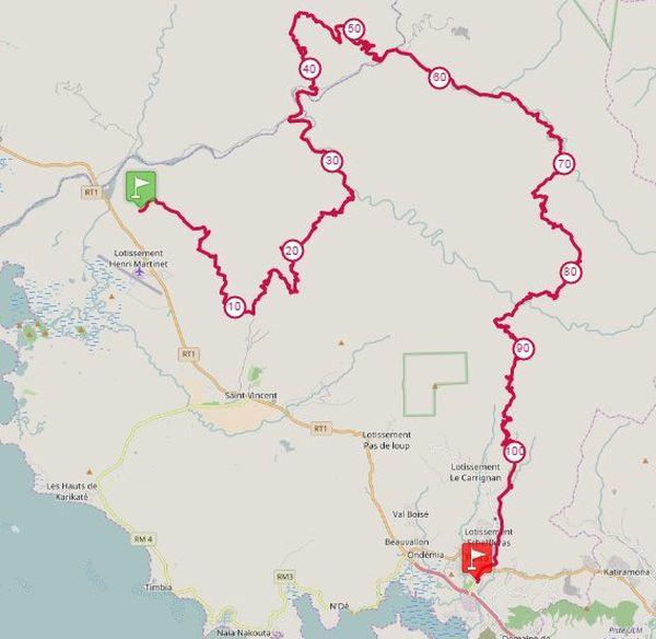 Capture parcours Ultra trail de Nouvelle-Calédonie entre Tontouta et Païta village (4 et 5 juin 2017)