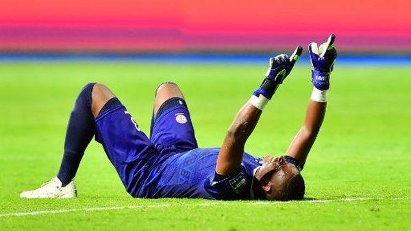 Adrien Melvin, gardien de but réunionnais de l'équipe malgache, après la victoire de Madagascar face au Nigéria