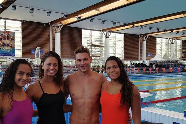 Ylenka Maurin, Emma Terebo, Florent Janin et May Toven, à Saint-Raphaël, pour les championnats de France Elite
