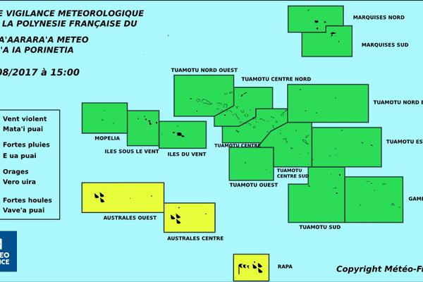 Vigilance jaune pour les fortes pluies aux Australes