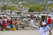 Scène de rue en Haïti.