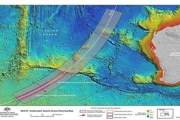Zone de recherche du MH370