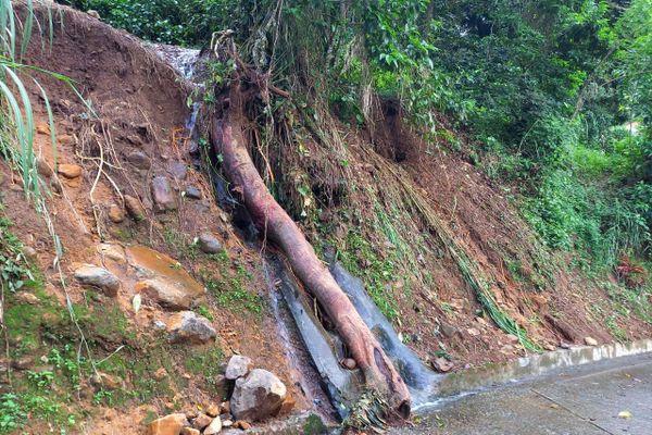 Le Marigot : Un glissement de terrain Quartier Dominante, rue Papin.