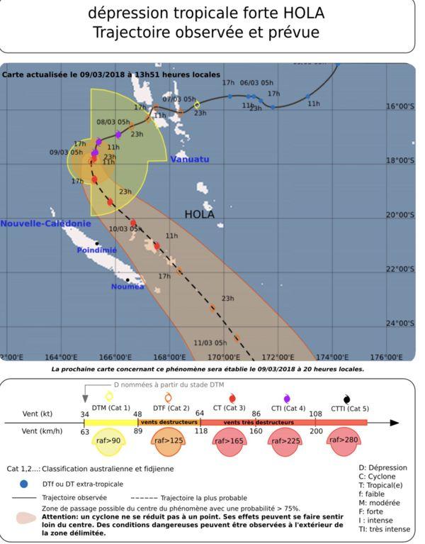 Cyclone Hola trajectoire prévue 09/03/18 14 h