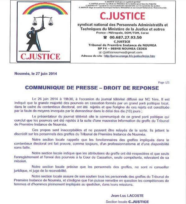 Communiqué C.Justice