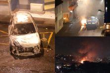 Voiture brulée sur l'avenue Jean Jaurès aux Terres Sainville et intervention de blindés de la gendarmerie, suite à un impressionnant incendie dans une maison en bois (juillet 2021).