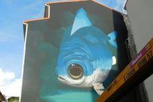 Une réalisation de l'artiste Veks van Hillik pour le festival d'art mural de Fort-de-France.