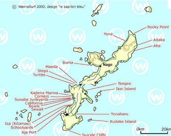 Carte des spots de surf au Japon