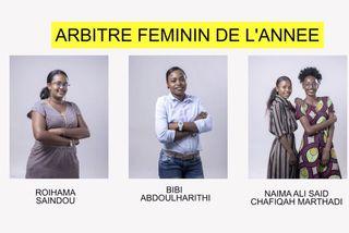 Nominées arbitre féminin  2018 : Roihama Saïndou & Bibi Abdoulharithi & Naïma Ali Saïd & Chafiqah Marthadi
