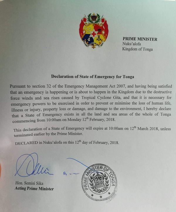 Cyclone Gita 12/02/18 état d'urgence Tonga