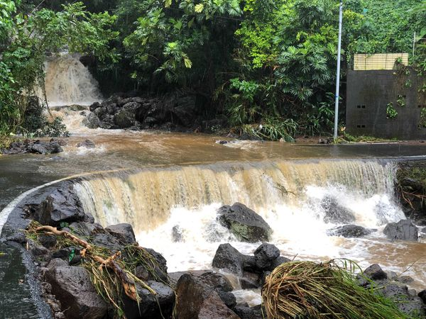 Intempéries à Saint-Joseph, samedi 28 août 2021, radier submergé