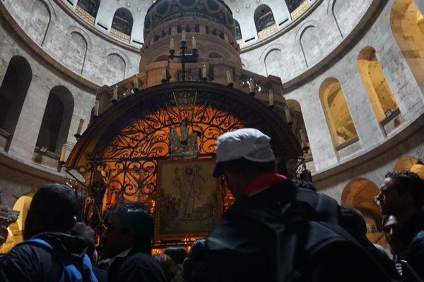 Pèlerins réunionnais tombeau du Christ