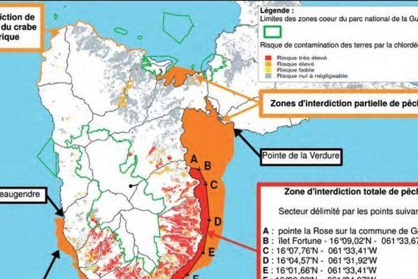Carte pollution Chlordécone