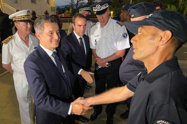Visite ministerielle Gérald Darmanin Sébastien Lecornu commissariat de Mamoudzou