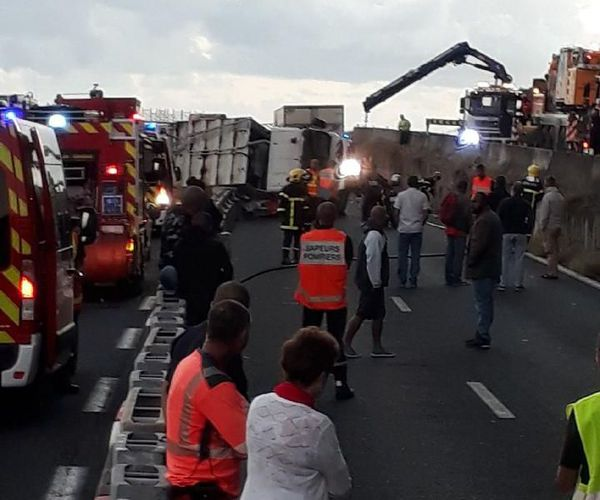 accident route littoral camions