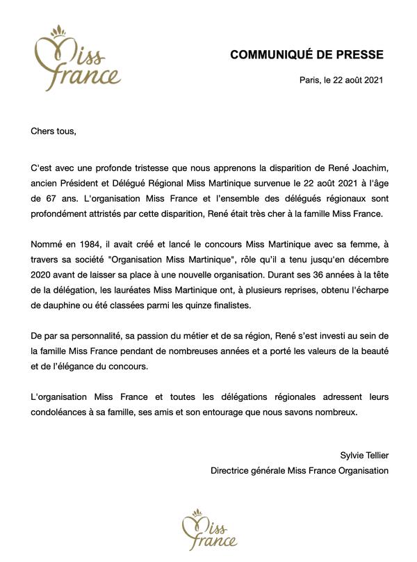 Communiqué Miss France décès René Joachim