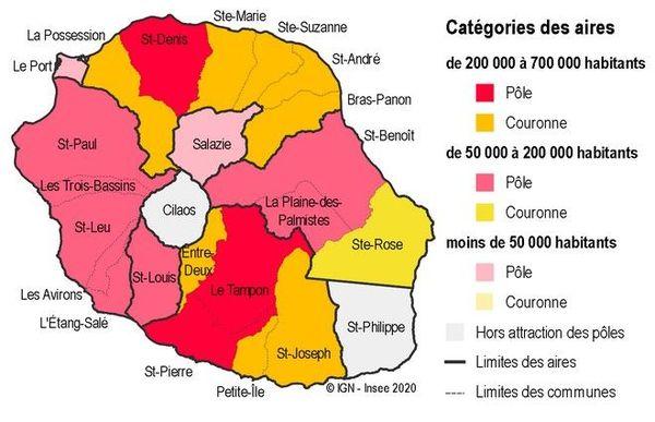 INSEE aires d'attraction de La Réunion Emploi démographie 231020