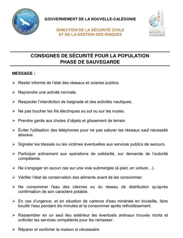 Cyclone Consignes phase de sauvegarde