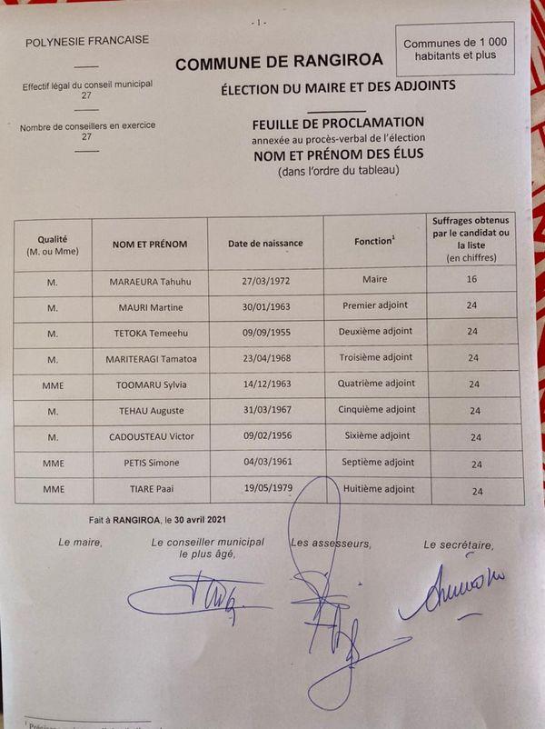Tahuhu Maraeura est le nouveau maire de Rangiroa