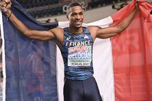 Wilhem Belocian champion d'Europe du 60 m haies, ce dimanche 7 mars 2021à Torun (Pologne).