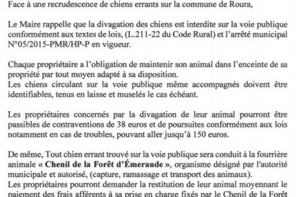 COMMUNIQUE  Recrudescence de divagation de chiens errants sur la commune de Roura