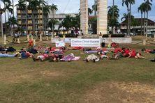 Dying de Coalition Climat Guyane sur la place des Palmistes