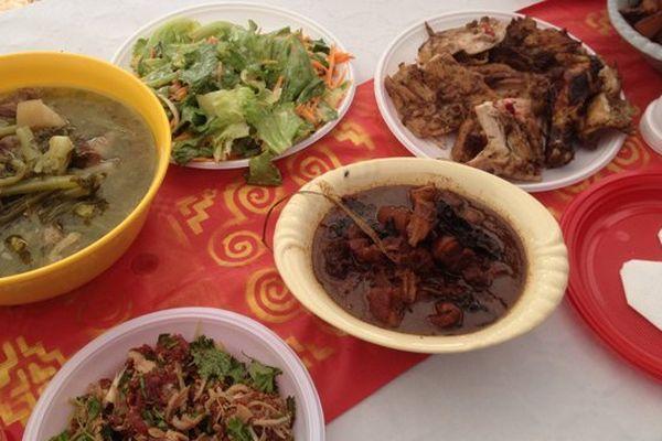 Les différents plats qui composent le baci hmong