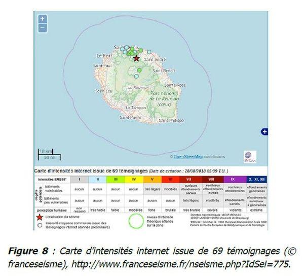 OVPF bullentin mensuel août 2018 carte séisme La Réunion 010918