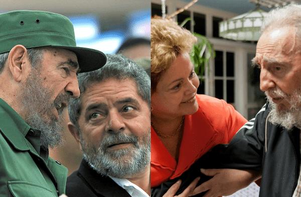 Fidel Castro avec Lula en 2000 et avec Dilma Roussef en 2014.