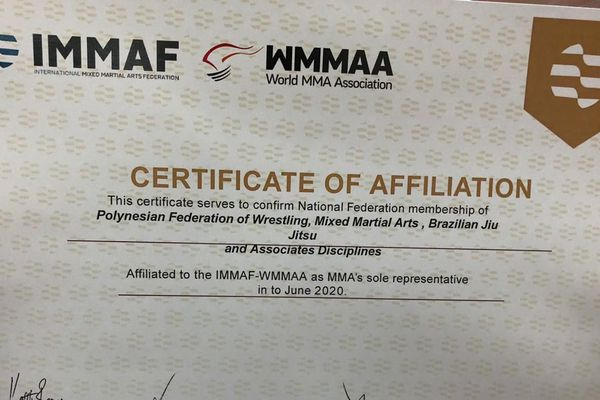 Le document qui officialise l'adhésion à la Fédération Mondiale de MMA