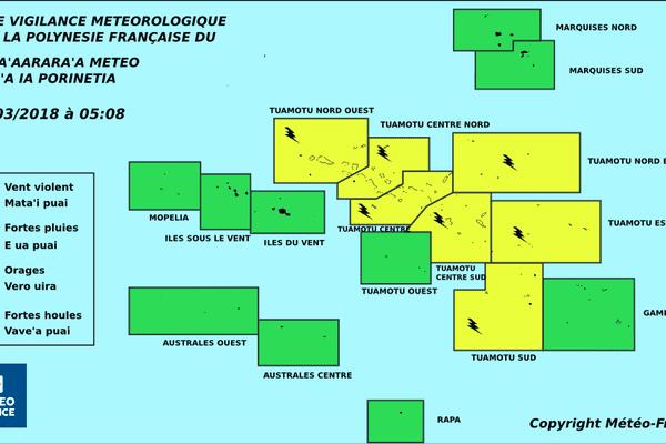 Vigilance jaune pour les Tuamotu