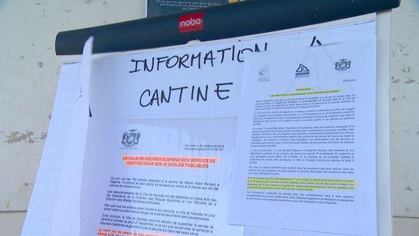 Affiche cantines supendues à Nouméa, 27 septembre 2018