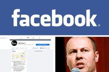 Logo Facebook et le ministre australien des Finances, Josh Frydenberg