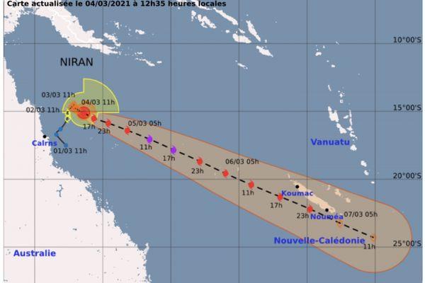 Niran, jeudi 4 mars, prévision trajectoire de 12h35