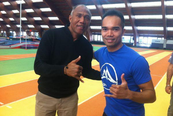 Antoine Kombouaré avec Minh Dack, champion de Karaté