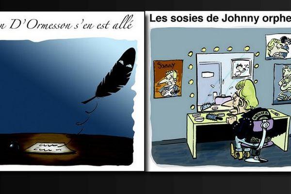 Le dessin de Souch : Jean D'Ormesson et Johnny Halliday